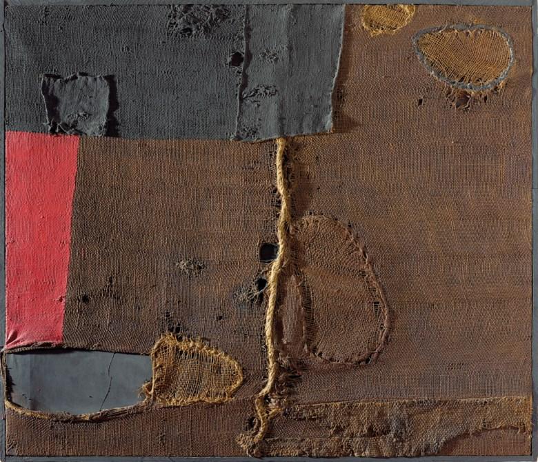 Alberto Burri (1915-1995), Sacco, 1953. 33⅞ x 39⅜ in (86 x 100 cm). Sold for £7,546,250 on 6 October 2017  at Christie's in London © Fondazione Palazzo Albizzini Collezione Burri, Città di Castello – DACS 2018