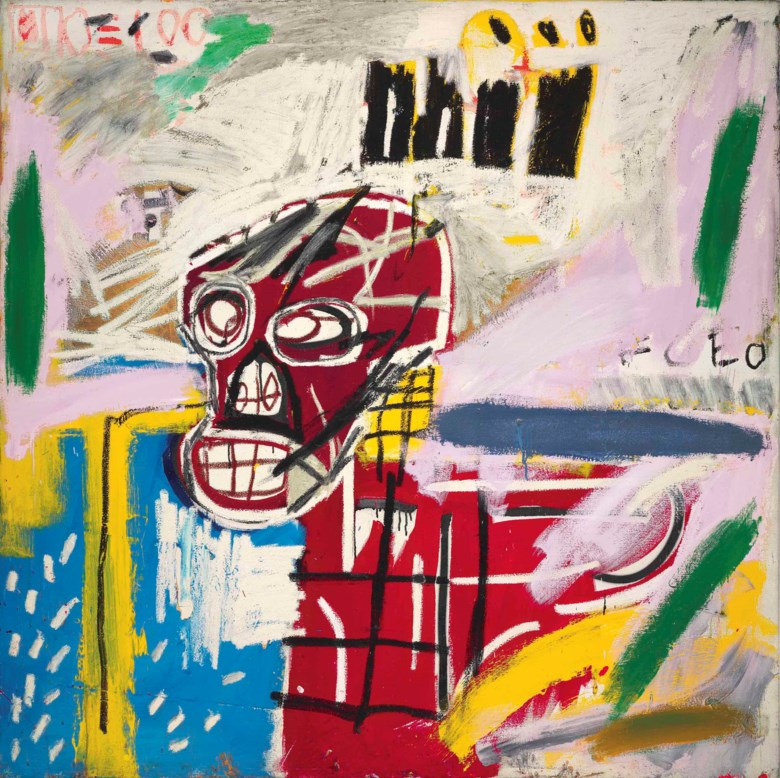 Jean-Michel Basquiat (1960-1988), Red Skull, 1982. 60 x 60 in (152.4 x 152.4  cm). Estimate on request. This lot is offered in Post-War and Contemporary Art Evening Auction on 6 October 2017  at Christie's in London