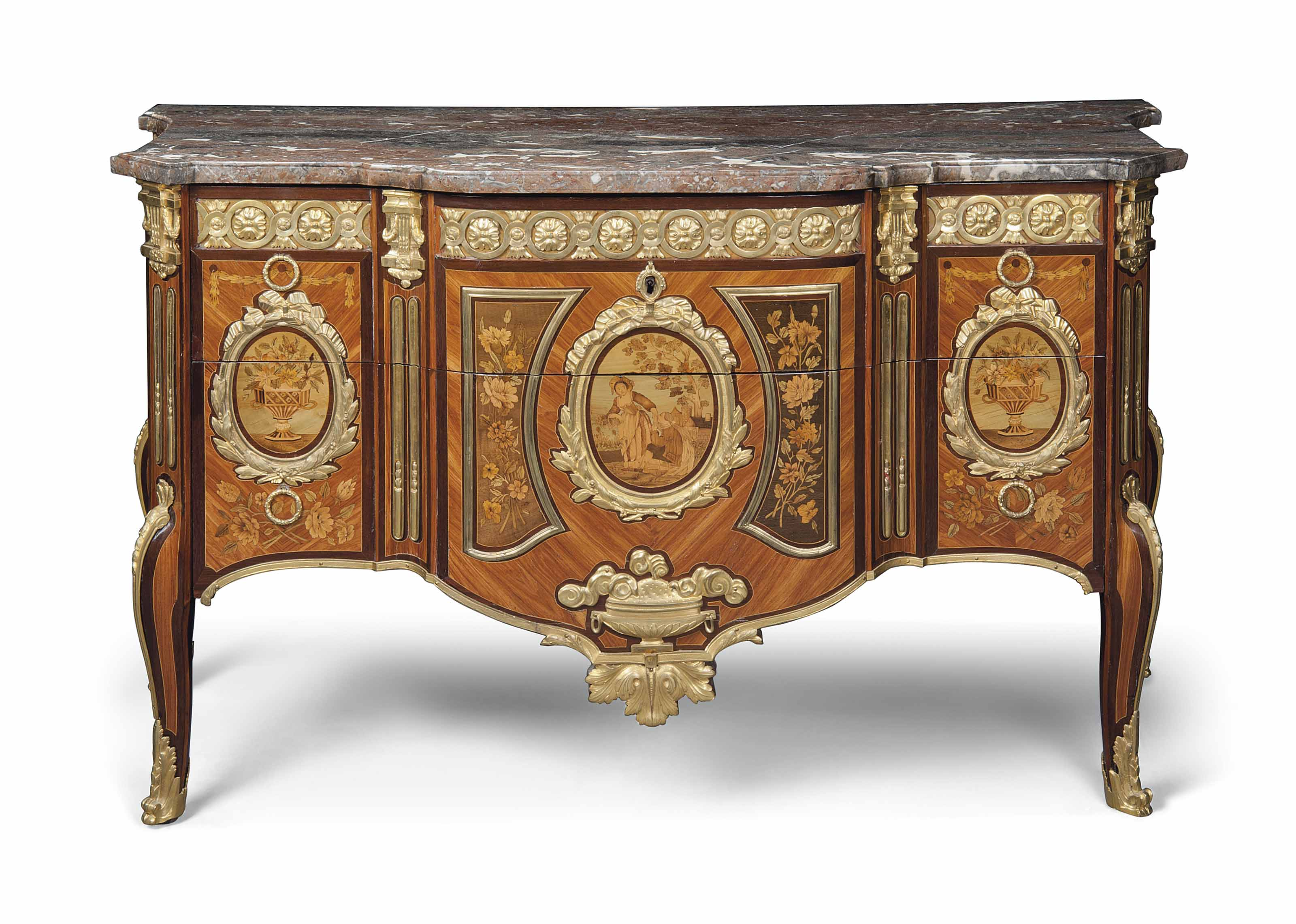 A LOUIS XVI ORMOLU-MOUNTED TULIPWOOD, AMARANTH AND FRUITWOOD MARQUETRY COMMODE