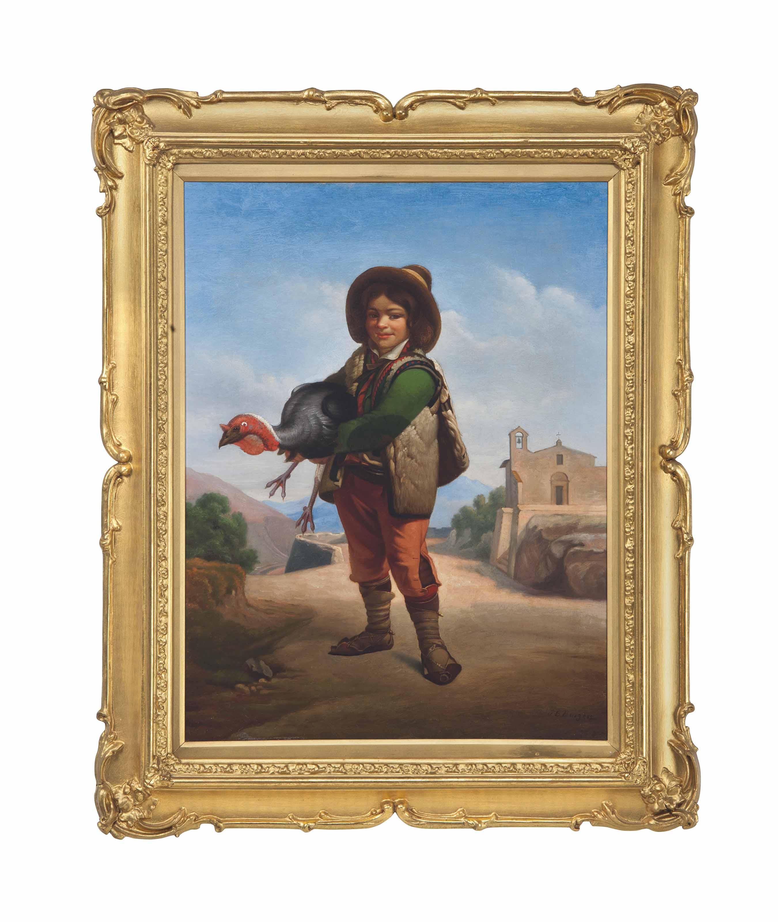 Spanish boy carrying a turkey