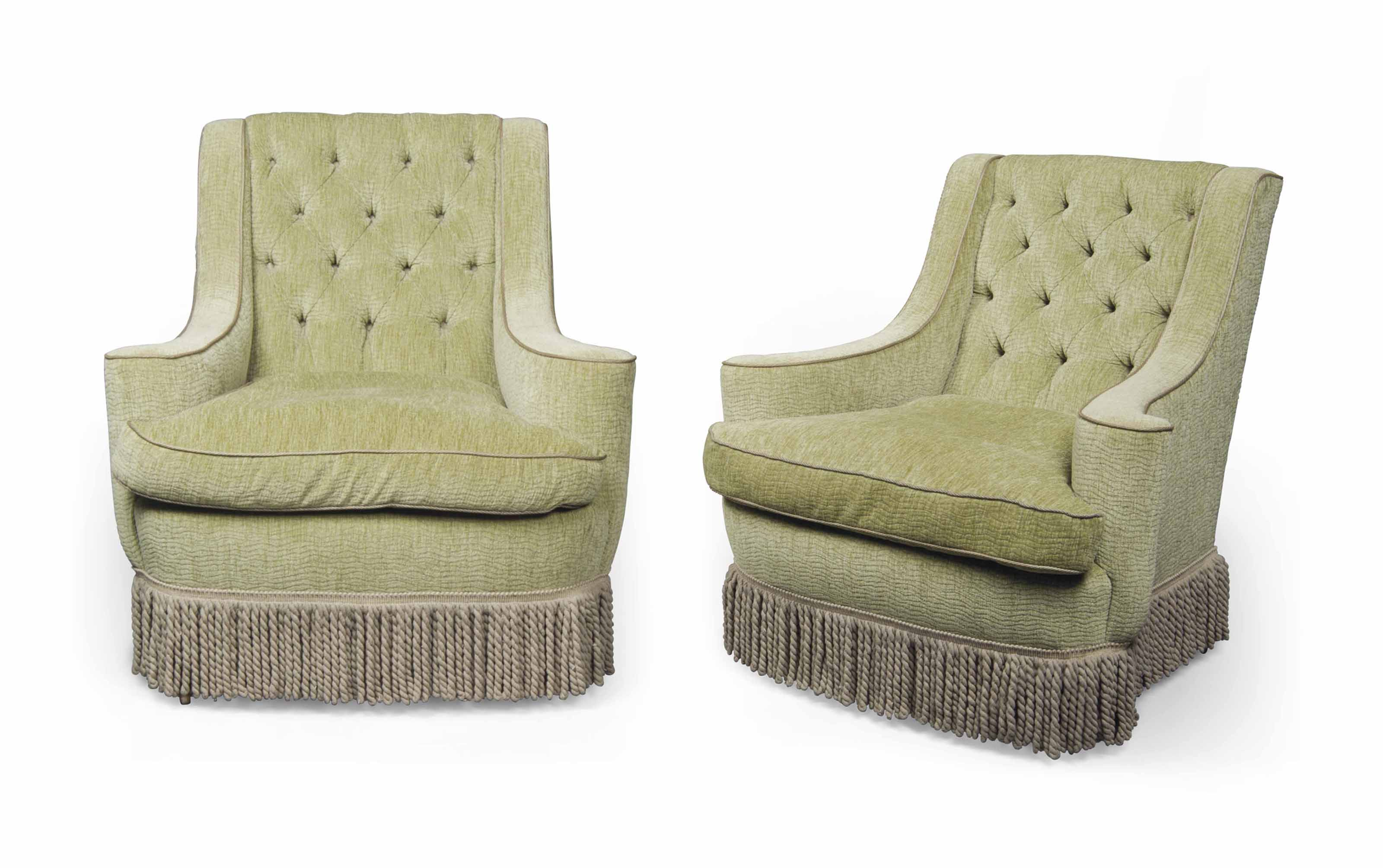 A PAIR OF ENGLISH GREEN VELVET ARMCHAIRS