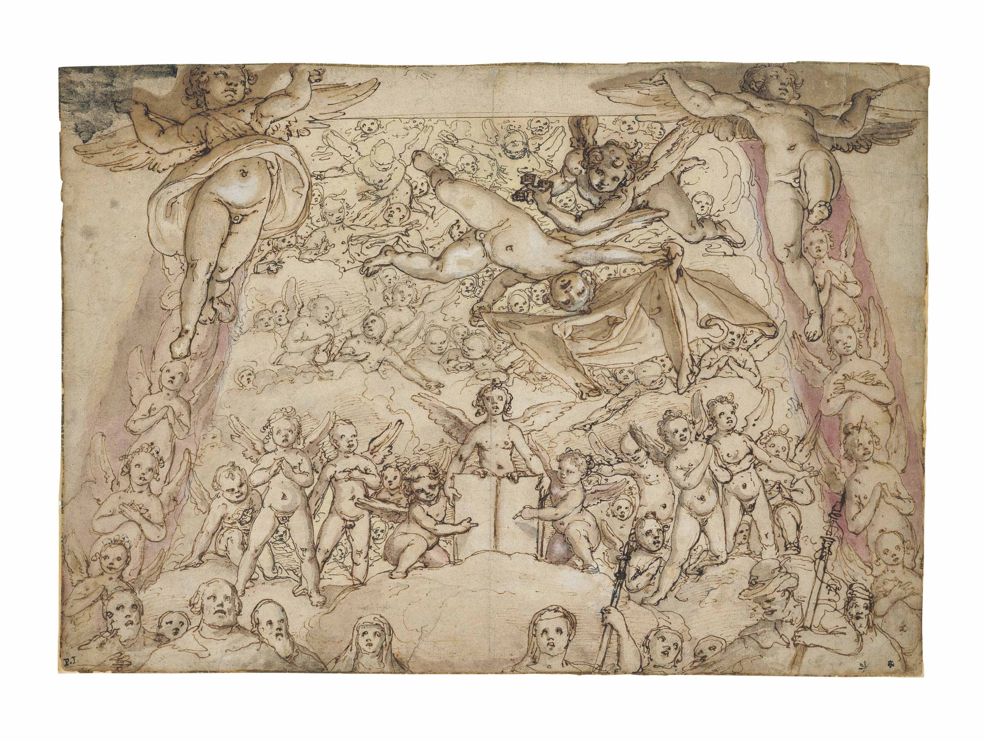 A flying Angel holding Christ's robe and another dice, accompanied by other Angels and figures