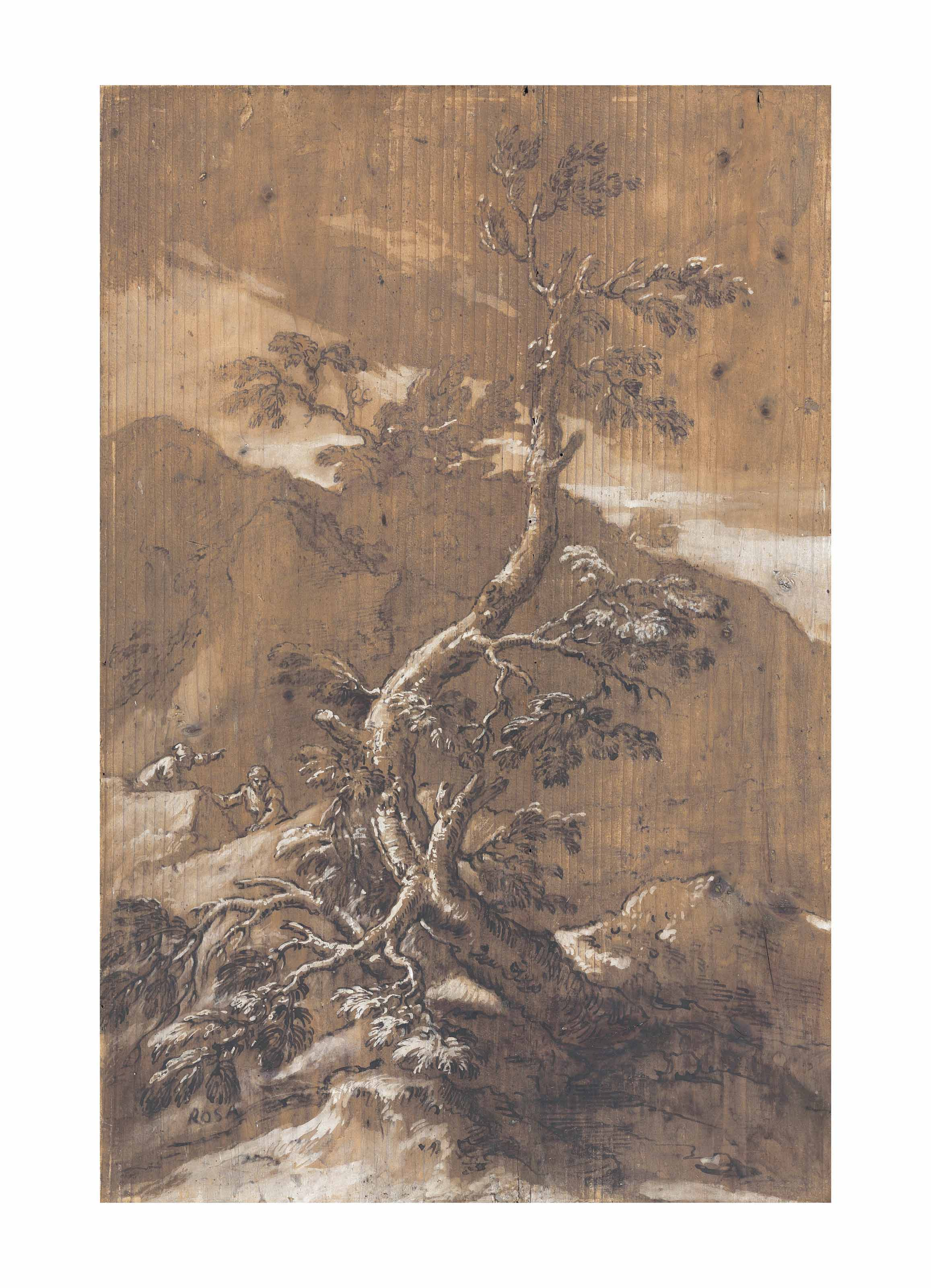 A rocky landscape with a tree and two figures
