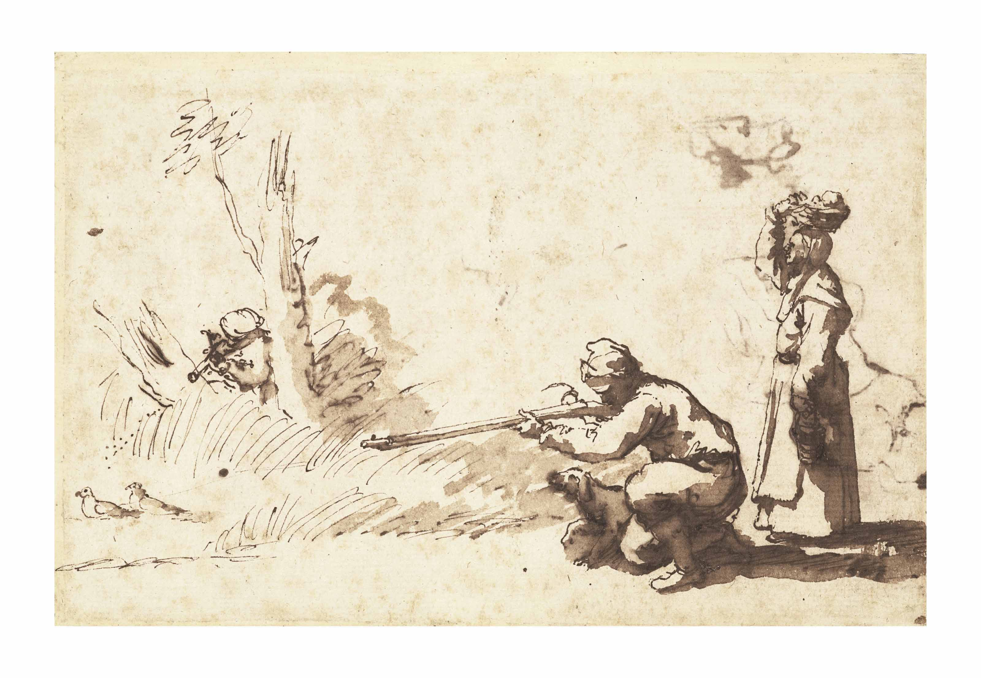 Two men hunting pigeons and a woman carrying a basket on her head standing beside (recto); Two head studies (verso, faintly visible through the recto)