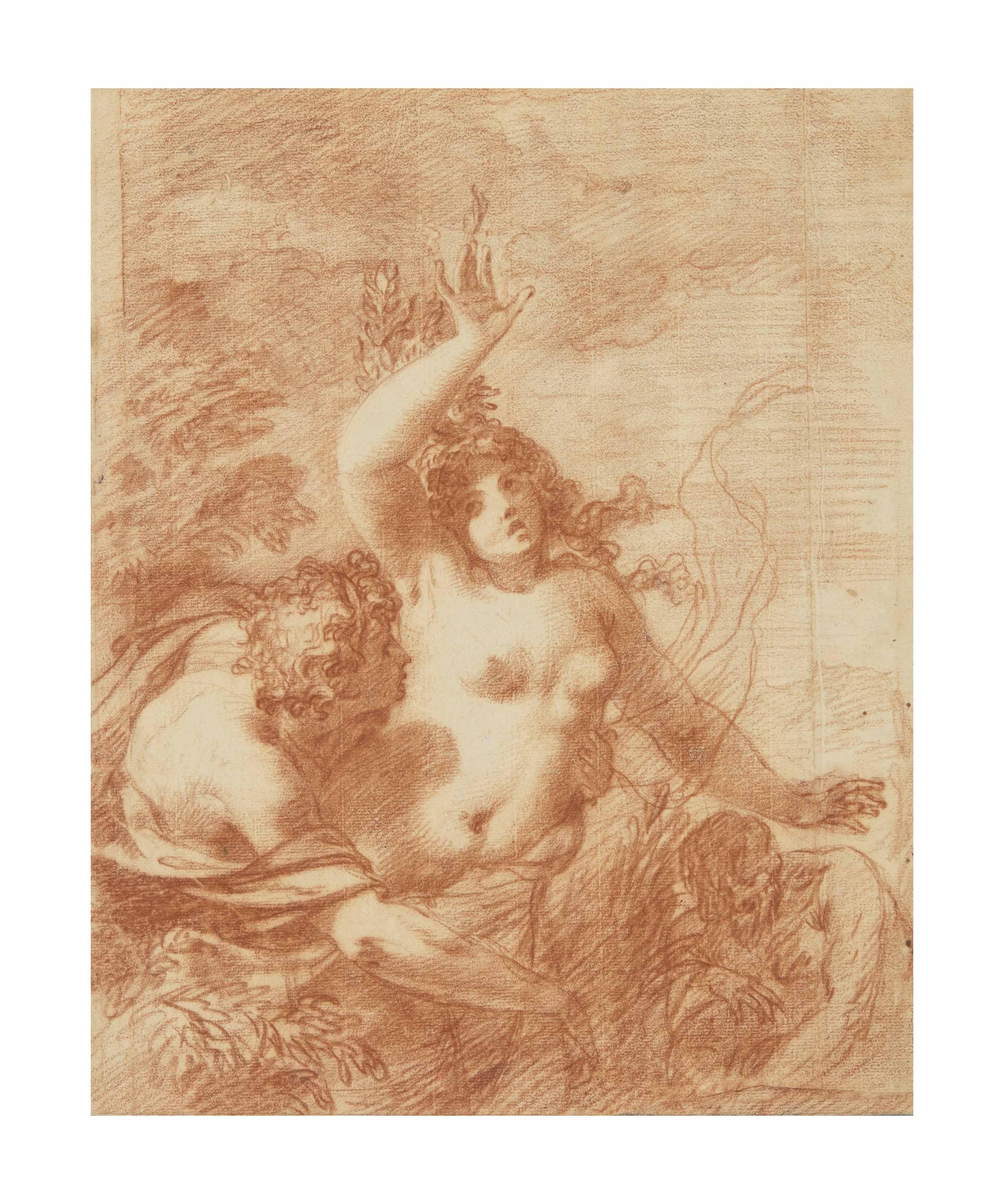 Apollo and Daphne (recto); Fragmentary sketches (verso)