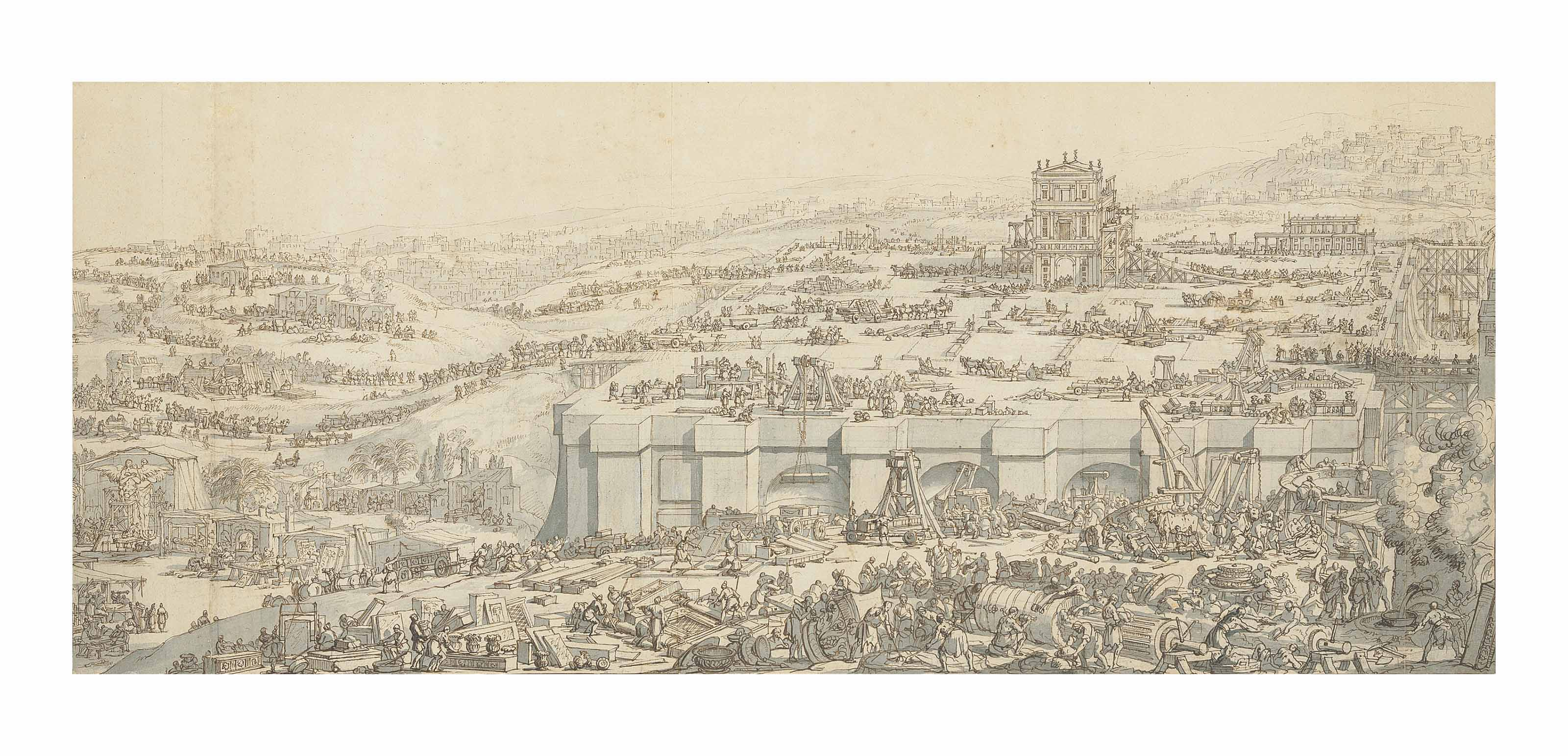 The construction of Solomon's temple, with Jerusalem behind