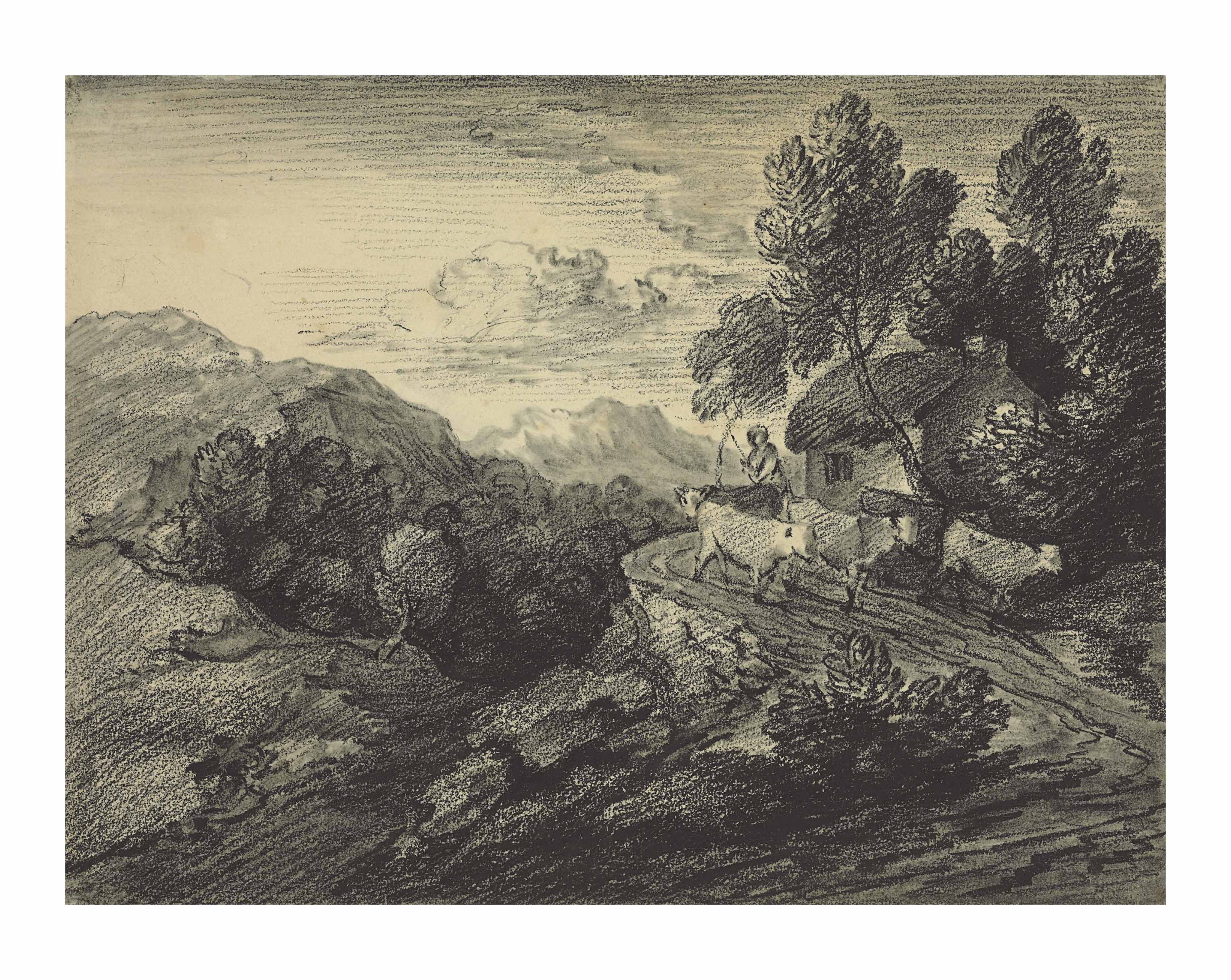 Cattle and a drover on a lane passing a cottage