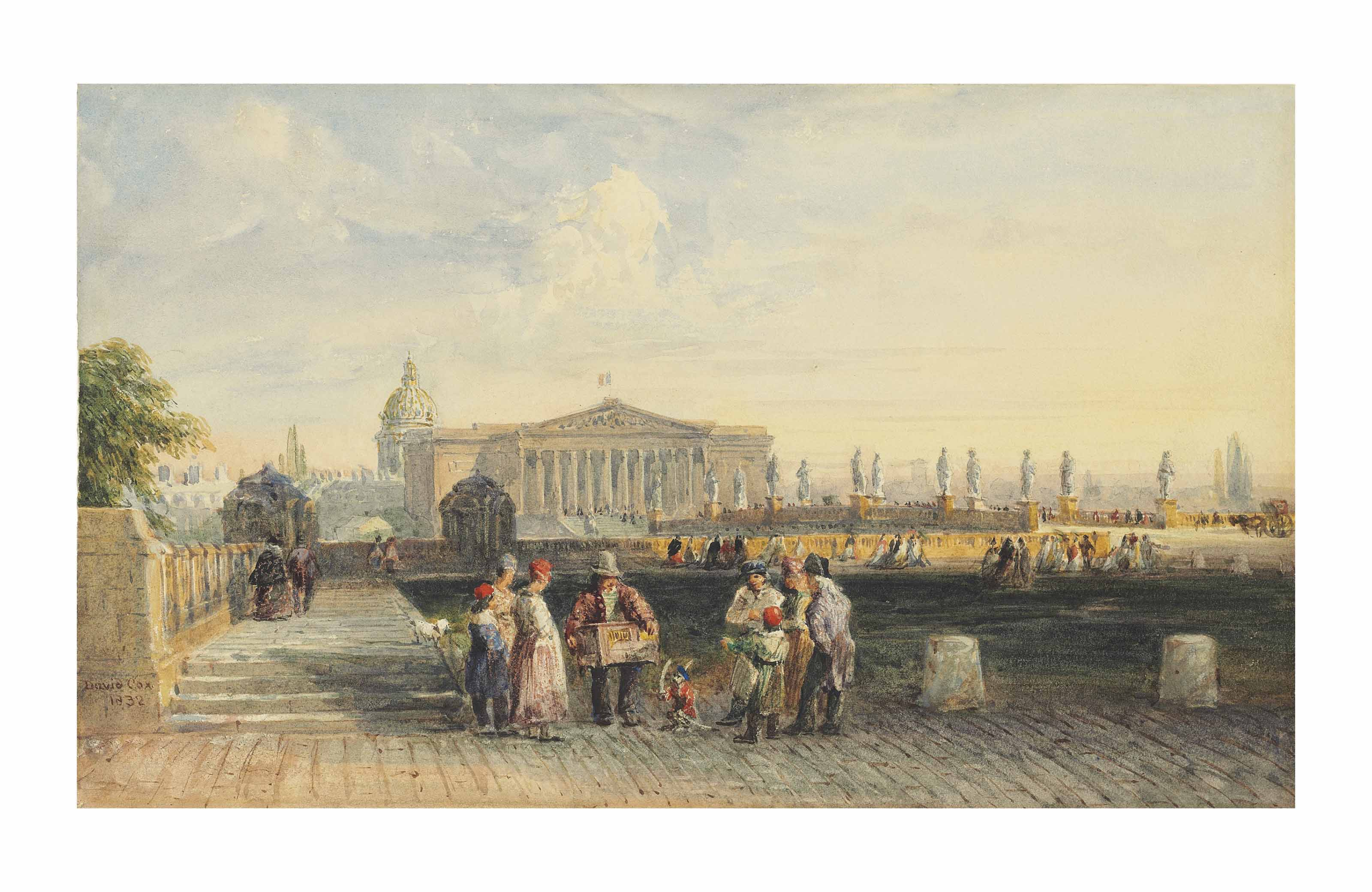 L'Assemblée Nationale with Les Invalides beyond, Paris, with a group around a street entertainer with his monkey in hat and red coat, holding a bow