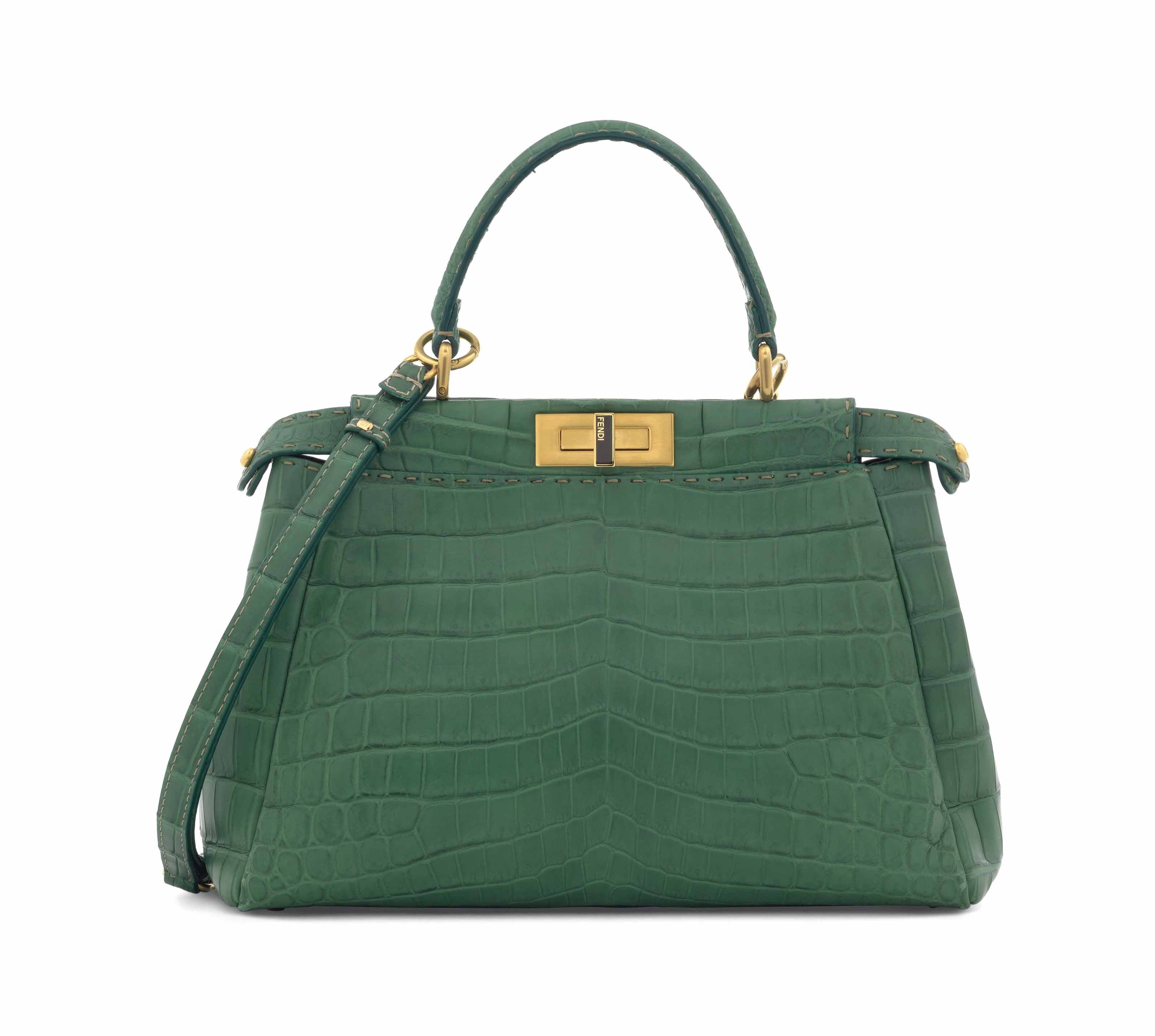 A LIMITED EDITION MATTE EMERALD GREEN NILOTICUS CROCODILE REGULAR SELLERIA PEEKABOO WITH BRUSHED GOLD HARDWARE