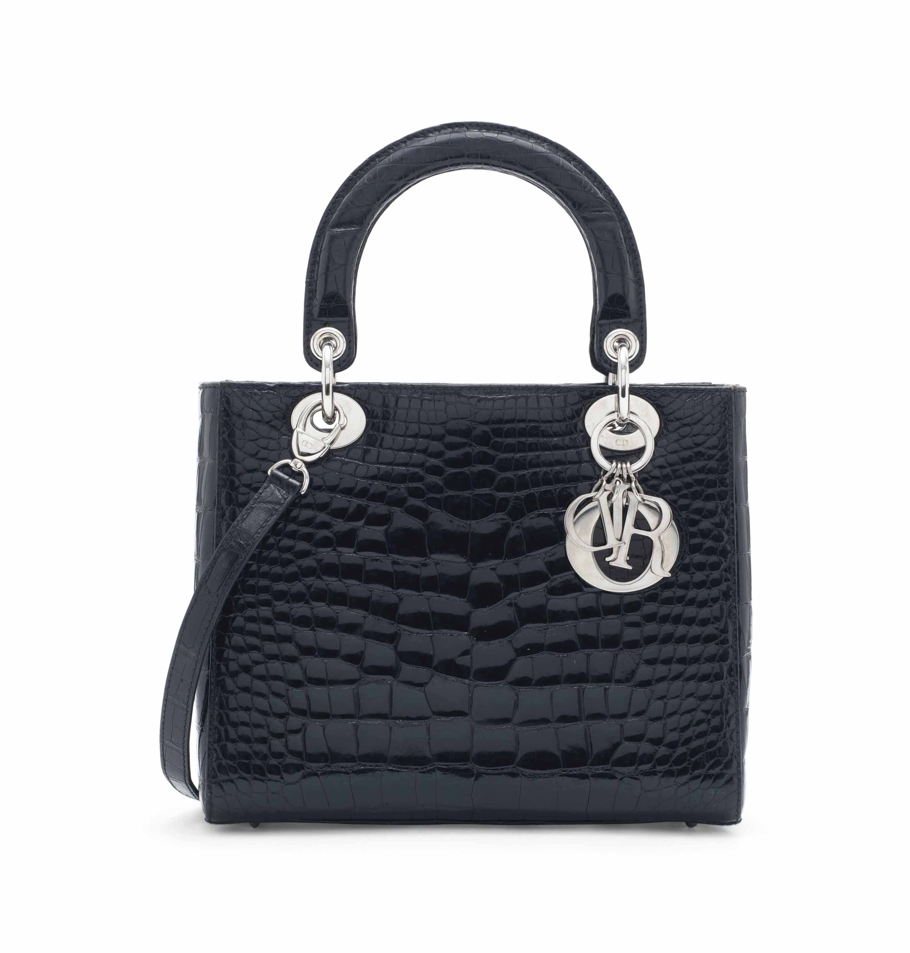 0e101c22beab A shiny black alligator Lady Dior with silver hardware, Christian Dior,  2010s. Sold for £8,750 on 12 June 2017 at Christie's London. '
