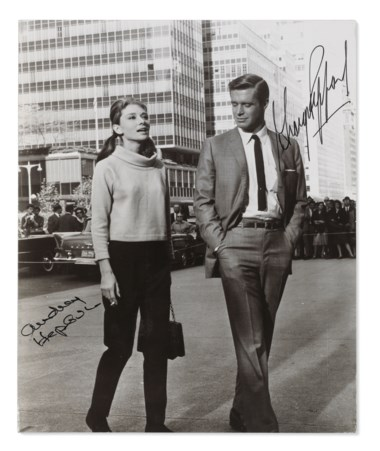 Breakfast at Tiffany's, 1961, Audrey Hepburn and George Peppard in the 1961 Paramount production Breakfast at Tiffanys, New York, 1960. Sheet 9 ¼ x 7 ½  in (23.5 x 19  cm). Estimate £2,000-3,000. This lot is offered in Audrey Hepburn The Personal Collection on 27 September 2017  at Christie's in London