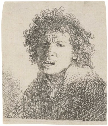 Rembrandt Harmensz. van Rijn (1606-1669), Self-Portrait Open-Mouthed, as If Shouting Bust. Etching, 1630, on laid paper, without watermark. Sheet 66 x 56  mm. Sold for £5,625 on 14 December 2017  at Christie's in London