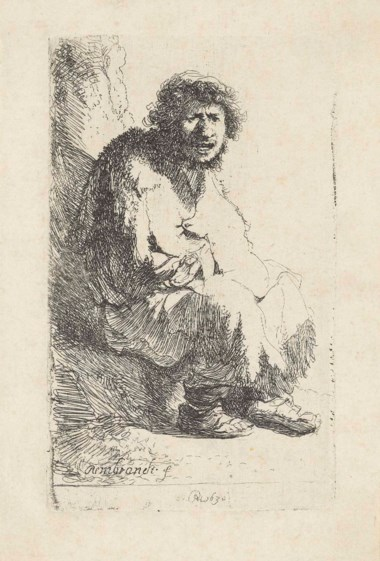 Rembrandt Harmensz. van Rijn (1606-1669), Beggar Seated on a Bank. Etching, 1630, on laid paper, without watermark. Plate 116 x 70  mm. Sheet 140 x 94  mm. Sold for £20,000 on 14 December 2017  at Christie's in London