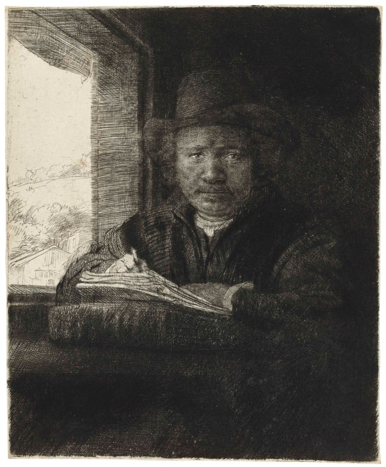 Rembrandt Harmensz. van Rijn (1606-1669), Self-Portrait Etching at a Window, 1648. Plate 155 x 129  mm. Sheet 158 x 130  mm. Estimate £100,000-150,000. This lot is offered in Old Master Prints on 14 December 2017  at Christie's in London