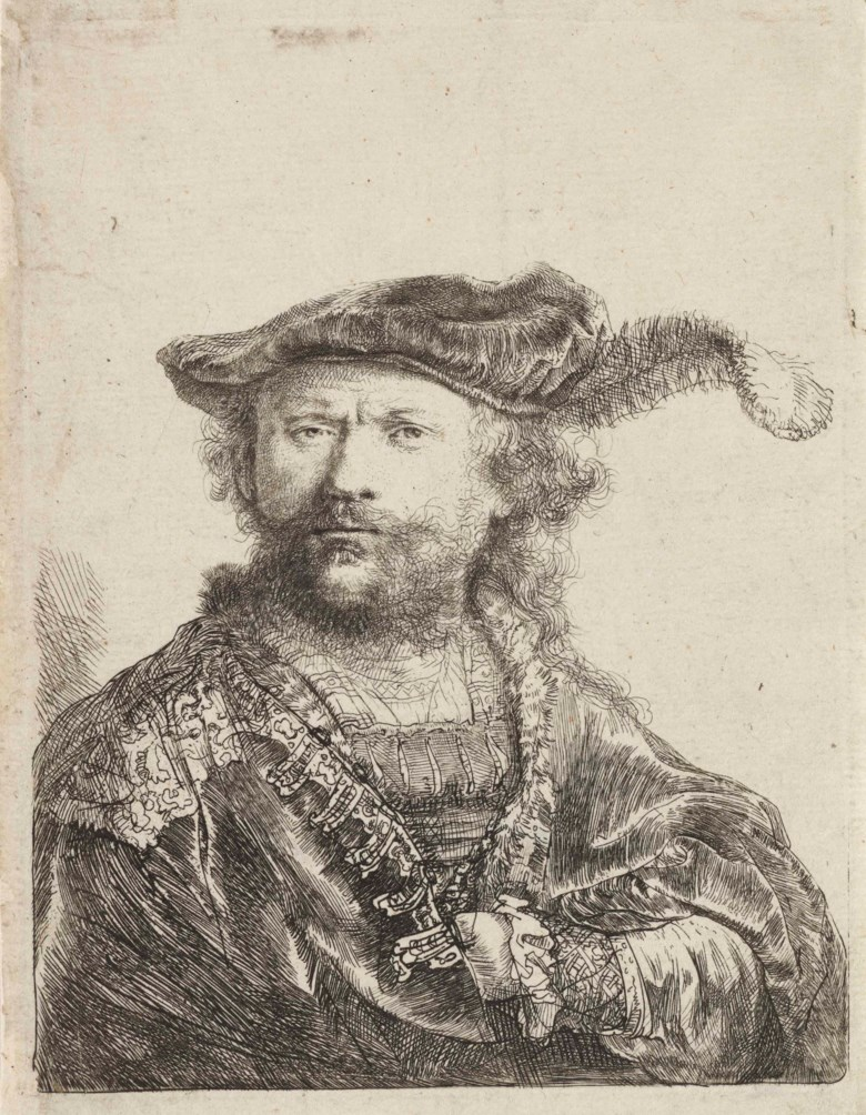 Rembrandt Harmensz. van Rijn (1606-1669), Self-Portrait in a Velvet Cap with Plume, c. 1638. Etching, circa 1638, on thin laid paper, without watermark. Plate 136 x 105  mm. Sheet 143 x 111  mm. This lot was offered in Old Master Prints on 14 December 2017  at Christie's in London and sold for £10,000