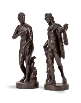 A PAIR OF FRENCH BRONZE FIGURES OF THE APOLLO BELVEDERE AND