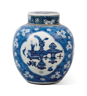 A CHINESE BLUE AND WHITE OVIFORM JAR AND ASSOCIATED COVER