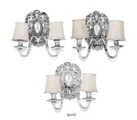 A SET OF SIX CHARLES-II STYLE SILVERED-BRASS TWIN-BRANCH WALL-LIGHTS