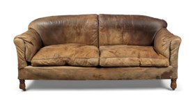 AN ENGLISH BROWN-LEATHER AND OAK SOFA