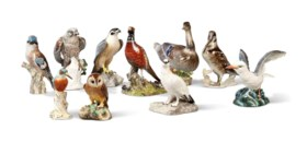A GROUP OF TEN CONTINENTAL AND ENGLISH PORCELAIN MODELS OF BIRDS