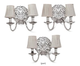 A SET OF FIVE CHARLES-II STYLE SILVERED-BRASS TWIN-BRANCH WALL-LIGHTS