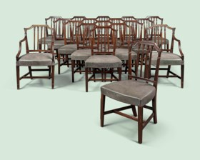 A SET OF EIGHTEEN MAHOGANY DINING CHAIRS