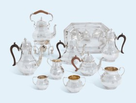 A SIX-PIECE VICTORIAN AND GEORGE V SILVER TEA AND COFFEE-SERVICE