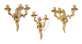 A GROUP OF EIGHT LOUIS-XV STYLE GILT-BRONZE WALL-APPLIQUES