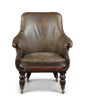 A WILLIAM IV SIMULATED-ROSEWOOD LIBRARY ARMCHAIR