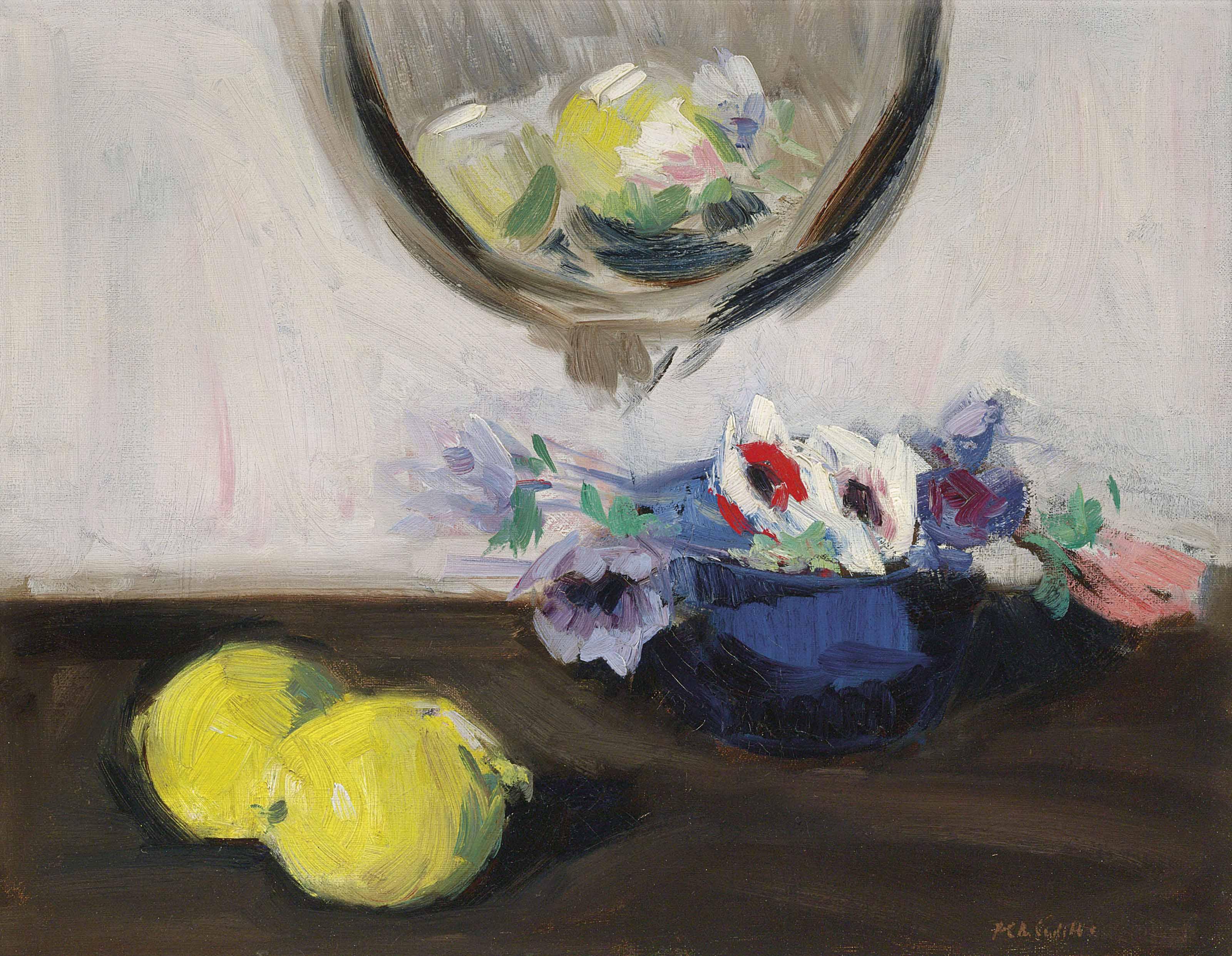 Still Life of Anemones and Lemons