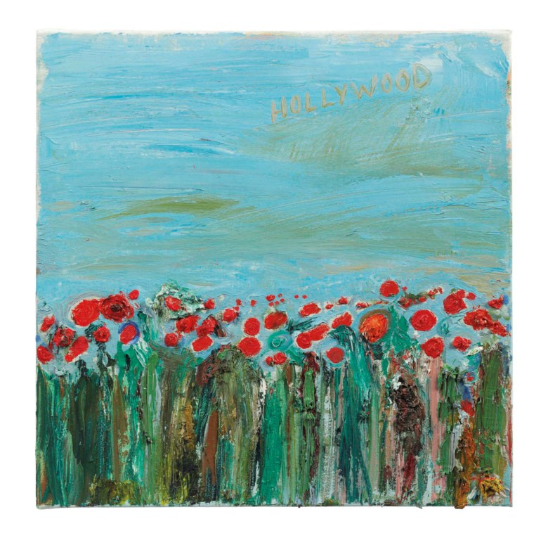 Nicole Eisenman (b.  1965), Hollywood Poppy Fields, 2007. Oil on canvas, 12 x 11⅞ in (30.5 x 30.2 cm). Estimate £3,000-5,000. This lot is offered in First Open on 15 September 2017 at Christie's in London