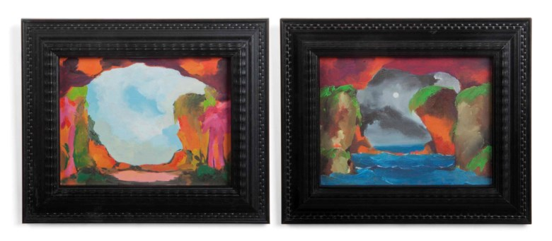 Marvin Gaye Chetwynd (b.  1973), Bat Opera. Oil on paper in artists frame, in two parts, each 9½ x 11⅜ in (24 x 29 cm). Estimate £3,000-5,000. This lot is offered in First Open on 15 September 2017 at Christie's in London