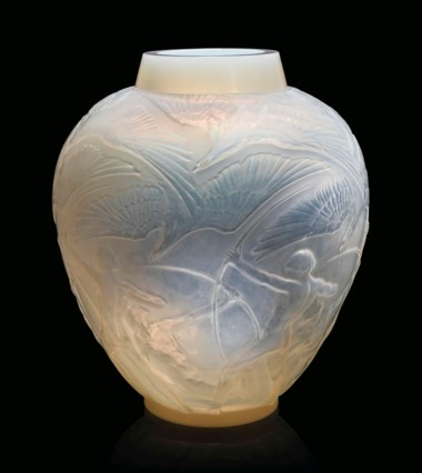 An Archers vase, no. 893, designed 1921. 11¼  in (28.5  cm) high. This lot was offered in Lalique on 14 November 2017  at Christie's in London and sold for £8,125