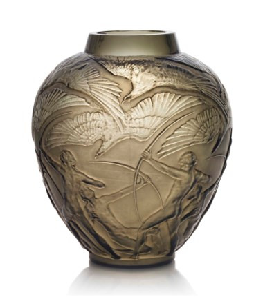 An Archers vase, no. 893, designed 1921. 10½  in (26.7  cm) high. This lot was offered in Lalique on 14 November 2017  at Christie's in London and sold for £5,250