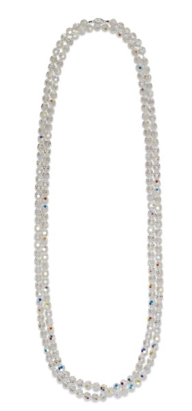 A LONG SAUTOIRE NECKLACE OF CRYSTAL BEADS