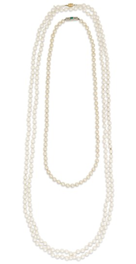 TWO SAUTOIR SIMULATED PEARL NECKLACES