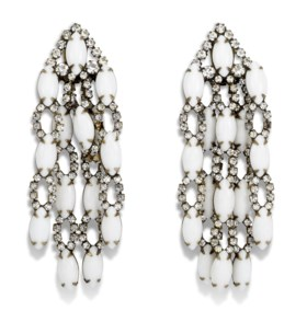 A PAIR OF WHITE CHANDELIER CLIP ON EARRINGS