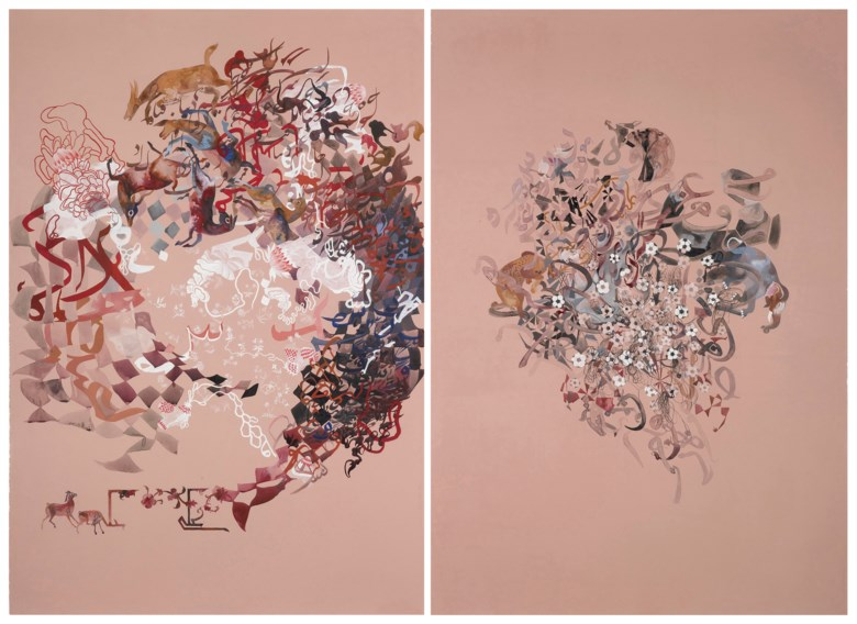 Shahzia Sikander (b. 1969), (i) Phenomenology of Transformation - Multiple Worlds(ii) Phenomenology of Transformation - Flower Fields, 2006. Estimate                    £10,000-15,000. This lot is offered in on paper  online, 7-19 September 2017, Online
