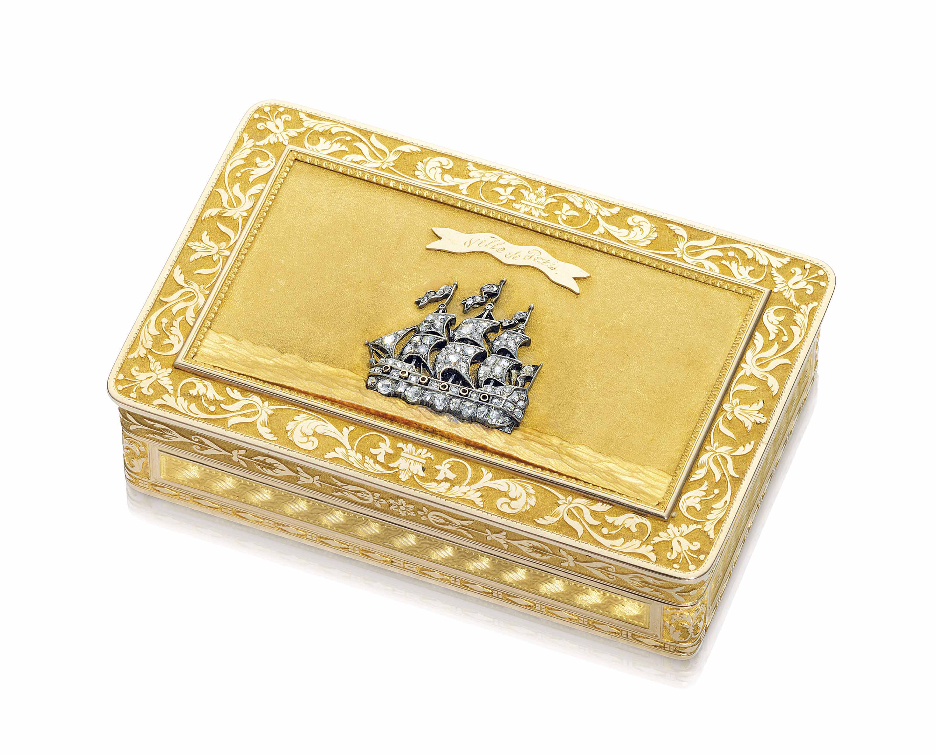 A FRENCH JEWELLED GOLD SNUFF-BOX