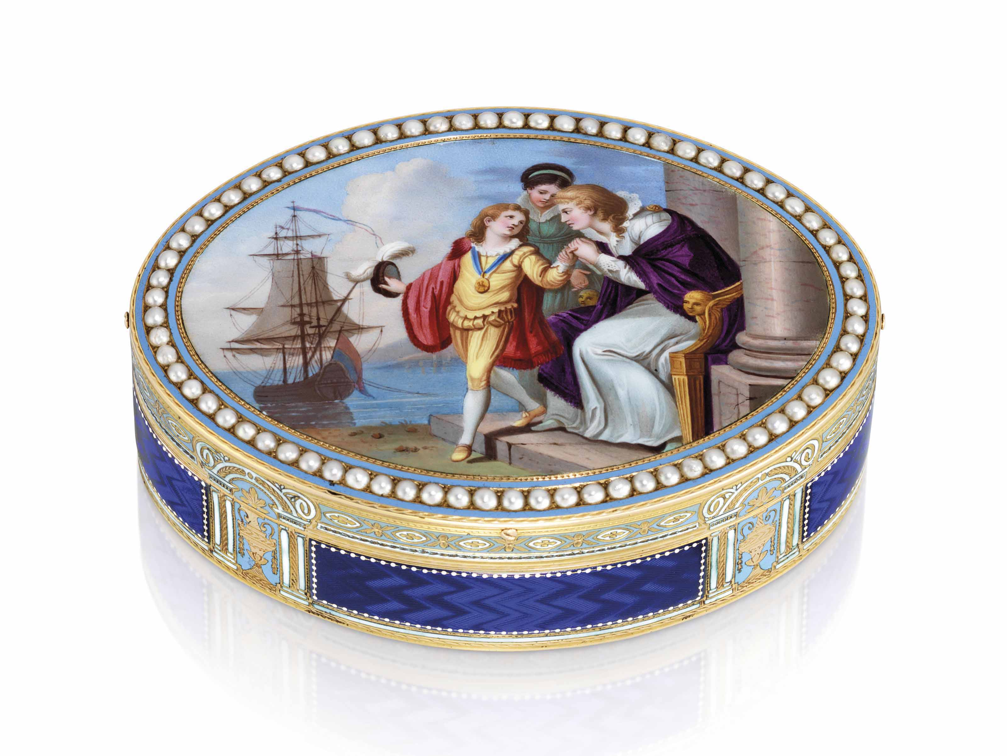 A SWISS JEWELLED ENAMELLED GOLD SNUFF-BOX