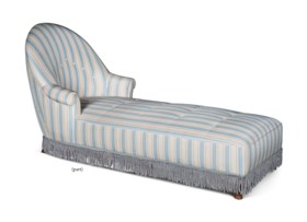 A STRIPED AND BUTTONED SILK DAYBED