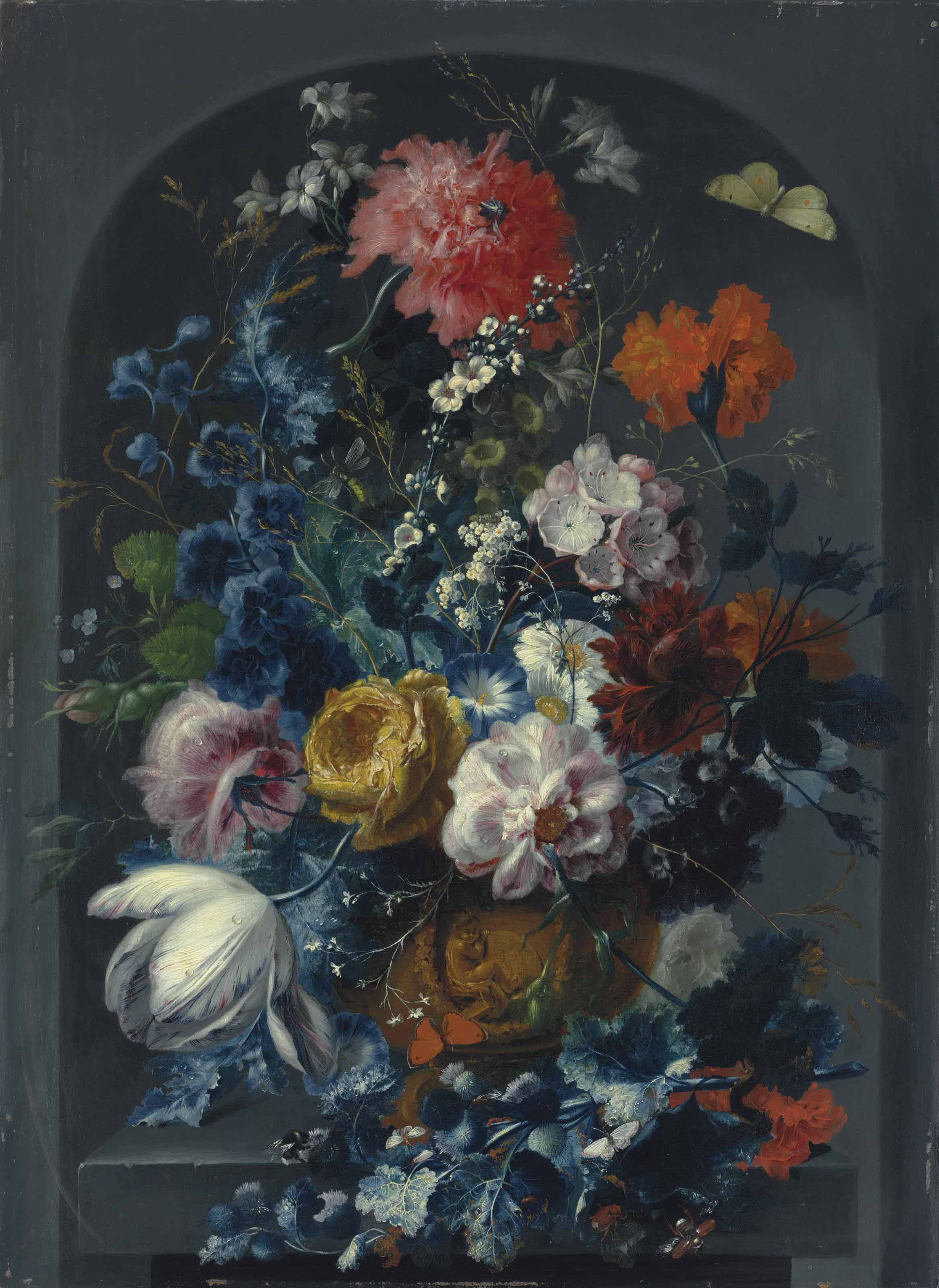 Carnations, roses, jasmine, a tulip and other flowers in a sculpted bronze urn, with butterflies, dragonflies, a caterpillar, a beetle and a bee, on a ledge in a niche