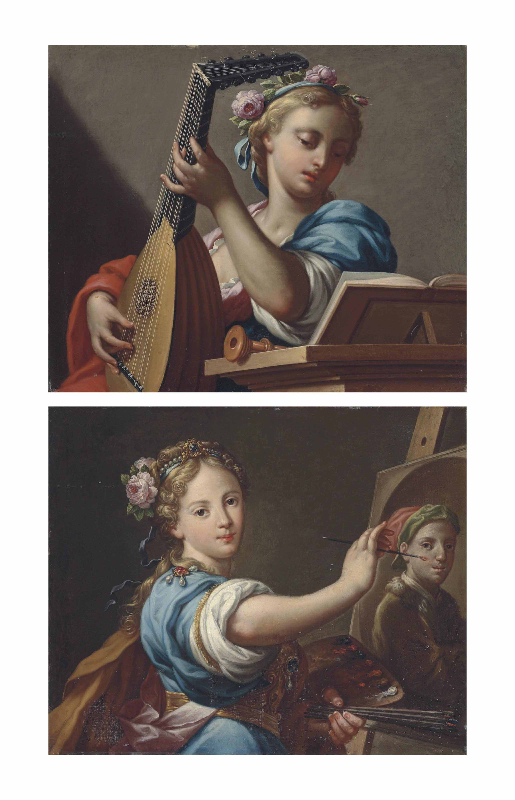 An Allegory of Music; and An Allegory of Painting, with a portrait of the artist on an easel