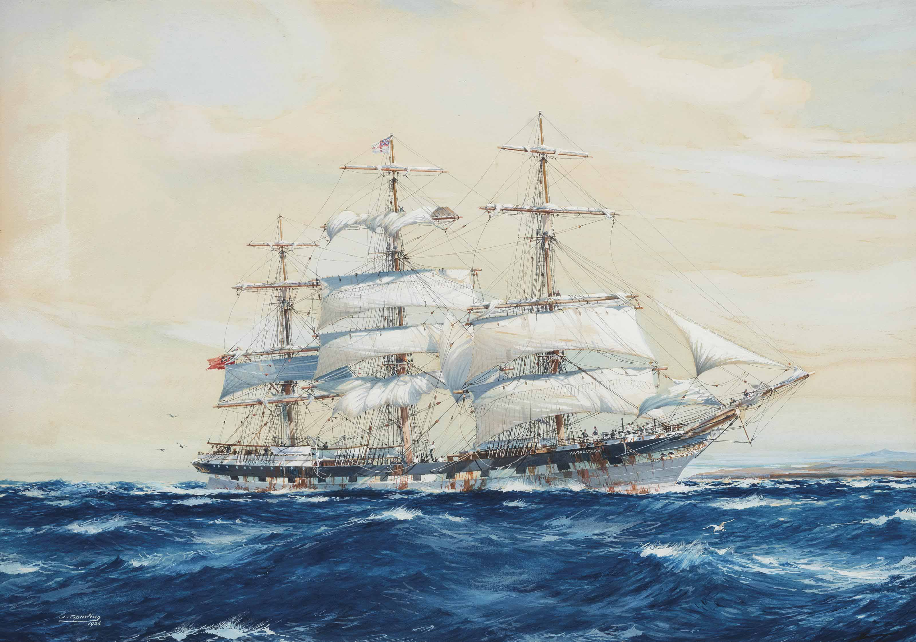 The emigrant ship Invercargill off Fairoa Head, New Zealand
