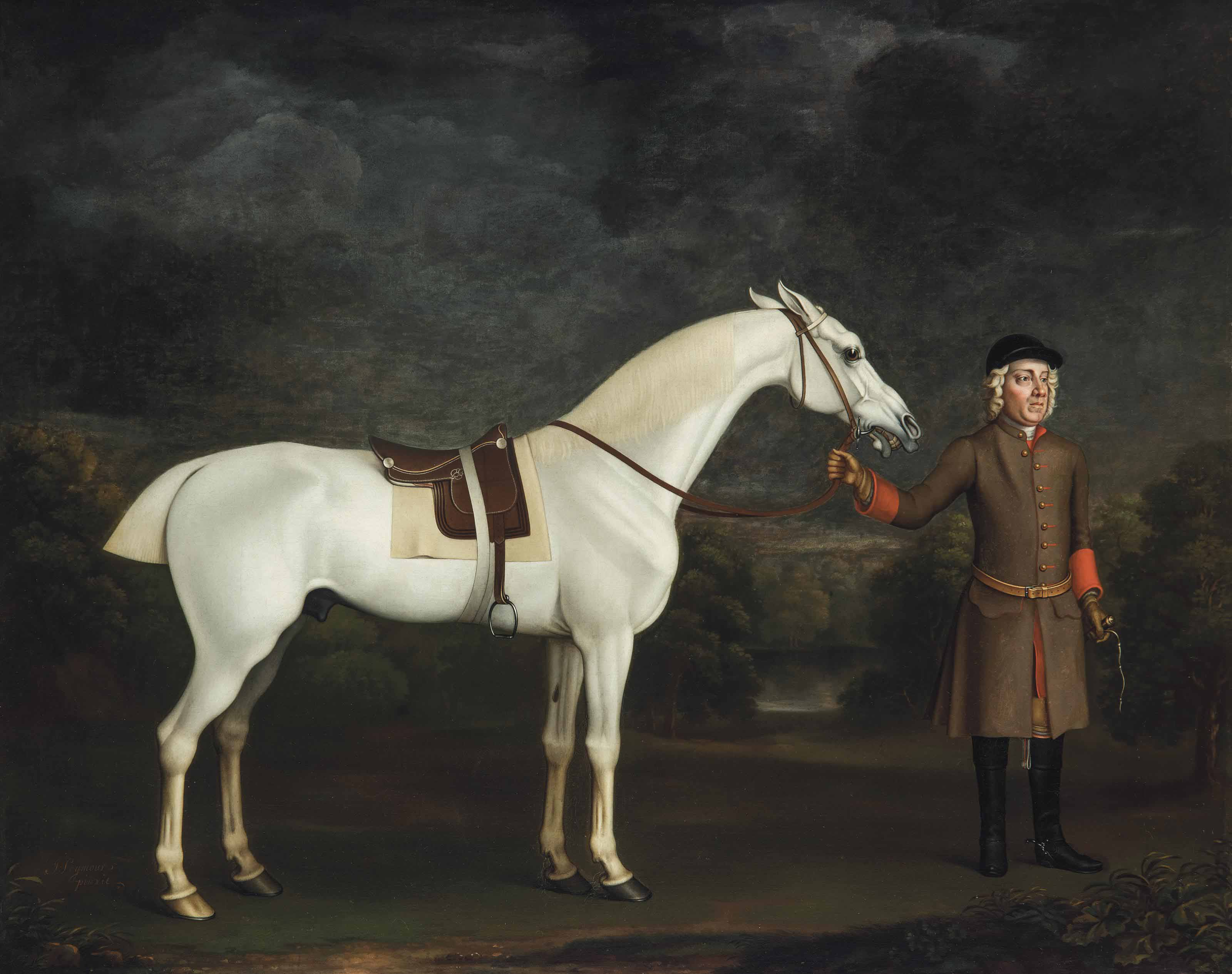 A saddled grey thoroughbred racehorse being held by a groom