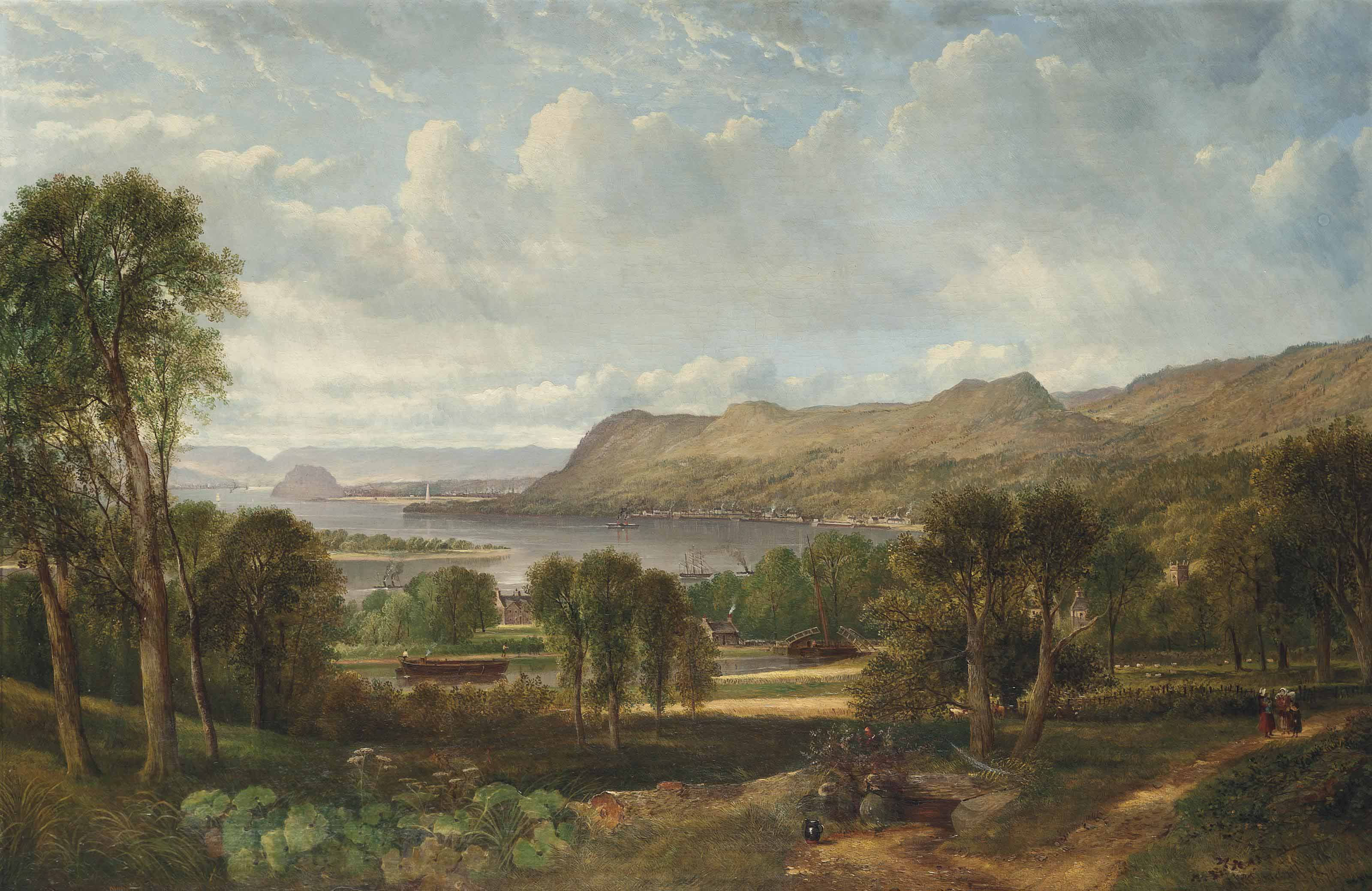 The Clyde from Dalnotter Hill, with shipping approaching the Port of Bowling, Dumbarton Rock beyond