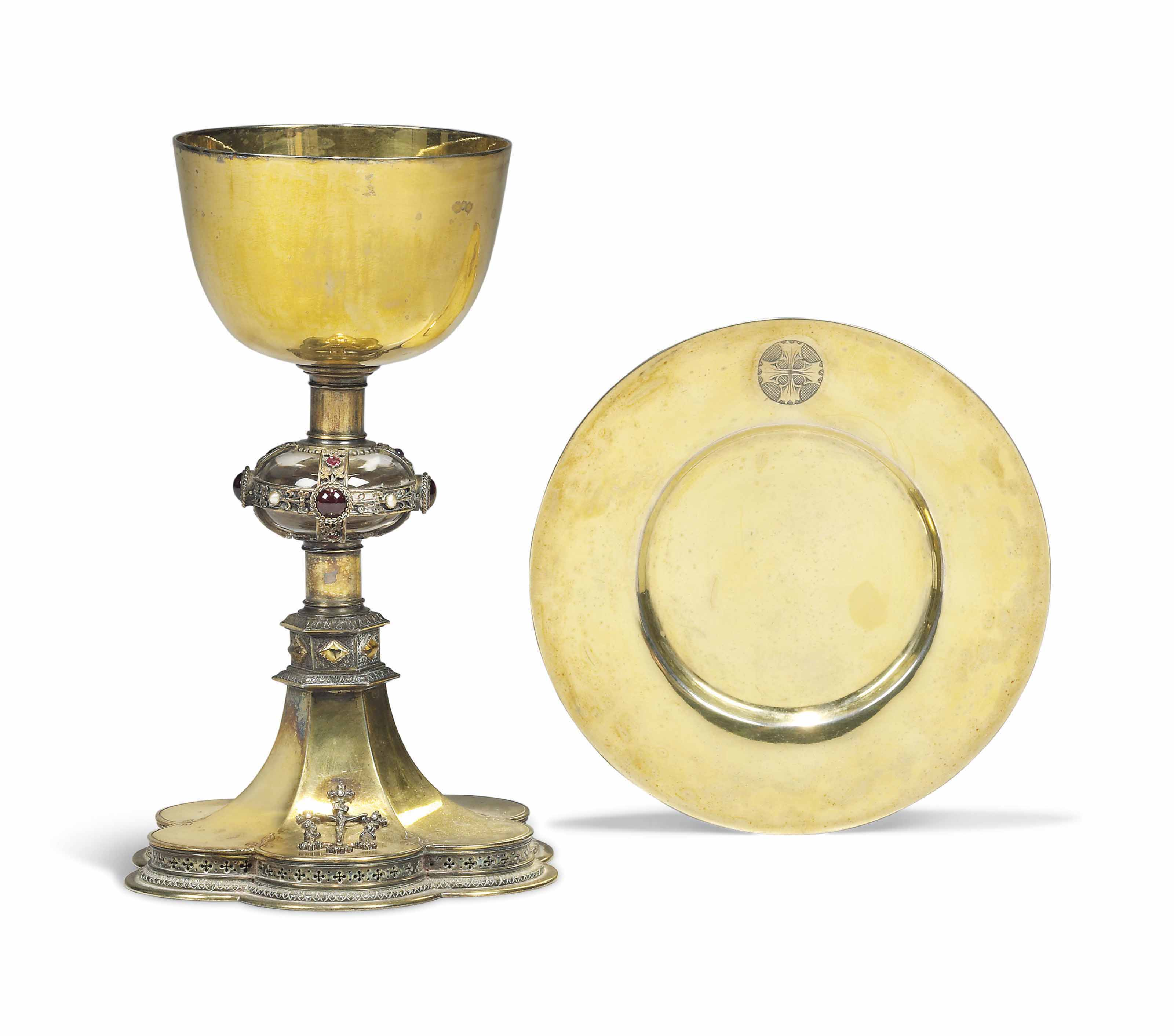 A VICTORIAN JEWELLED SILVER-GILT CHALICE AND PATEN