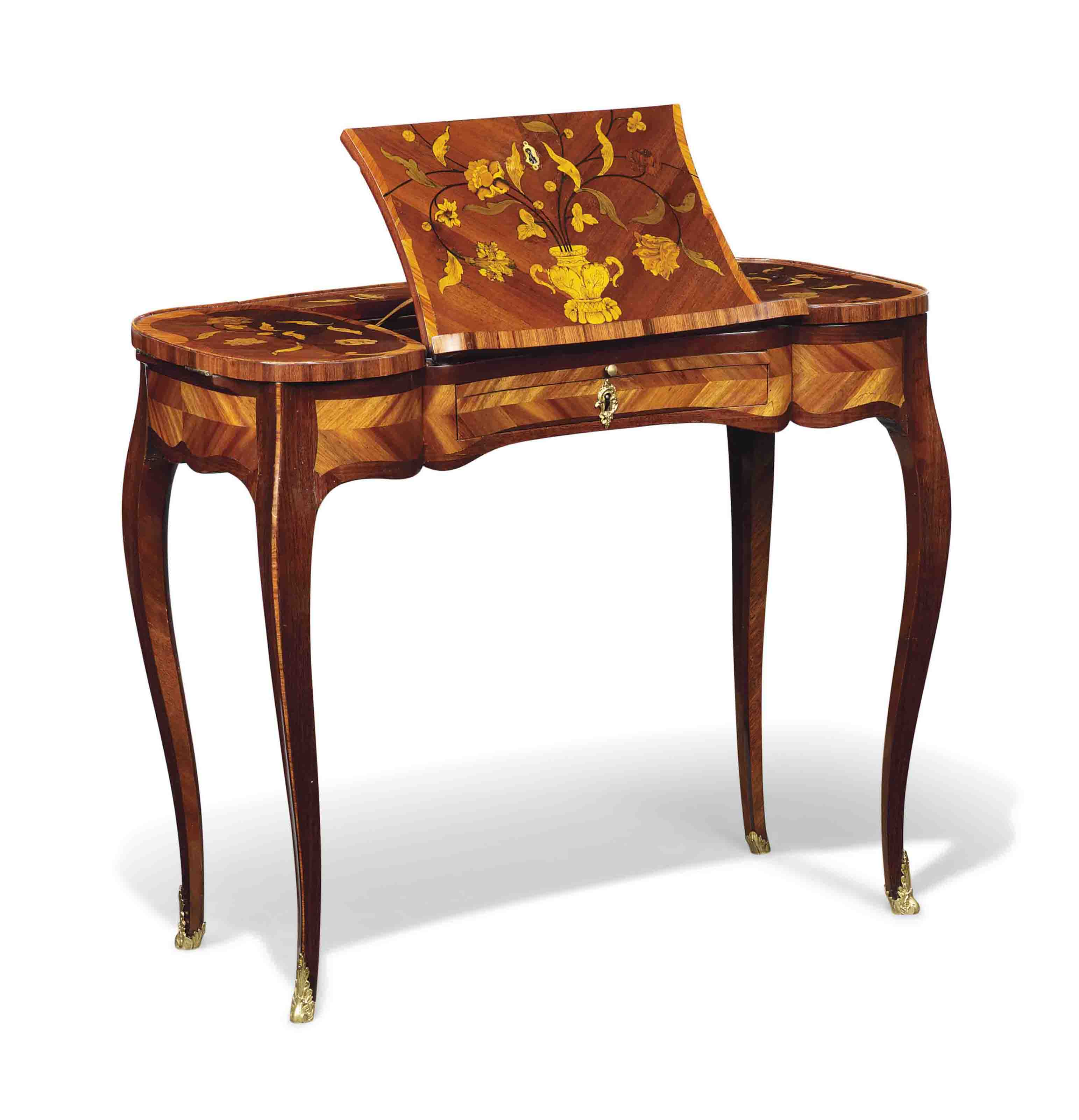 A LOUIS XV TULIPWOOD, AMARANTH AND FLORAL MARQUETRY WRITING TABLE