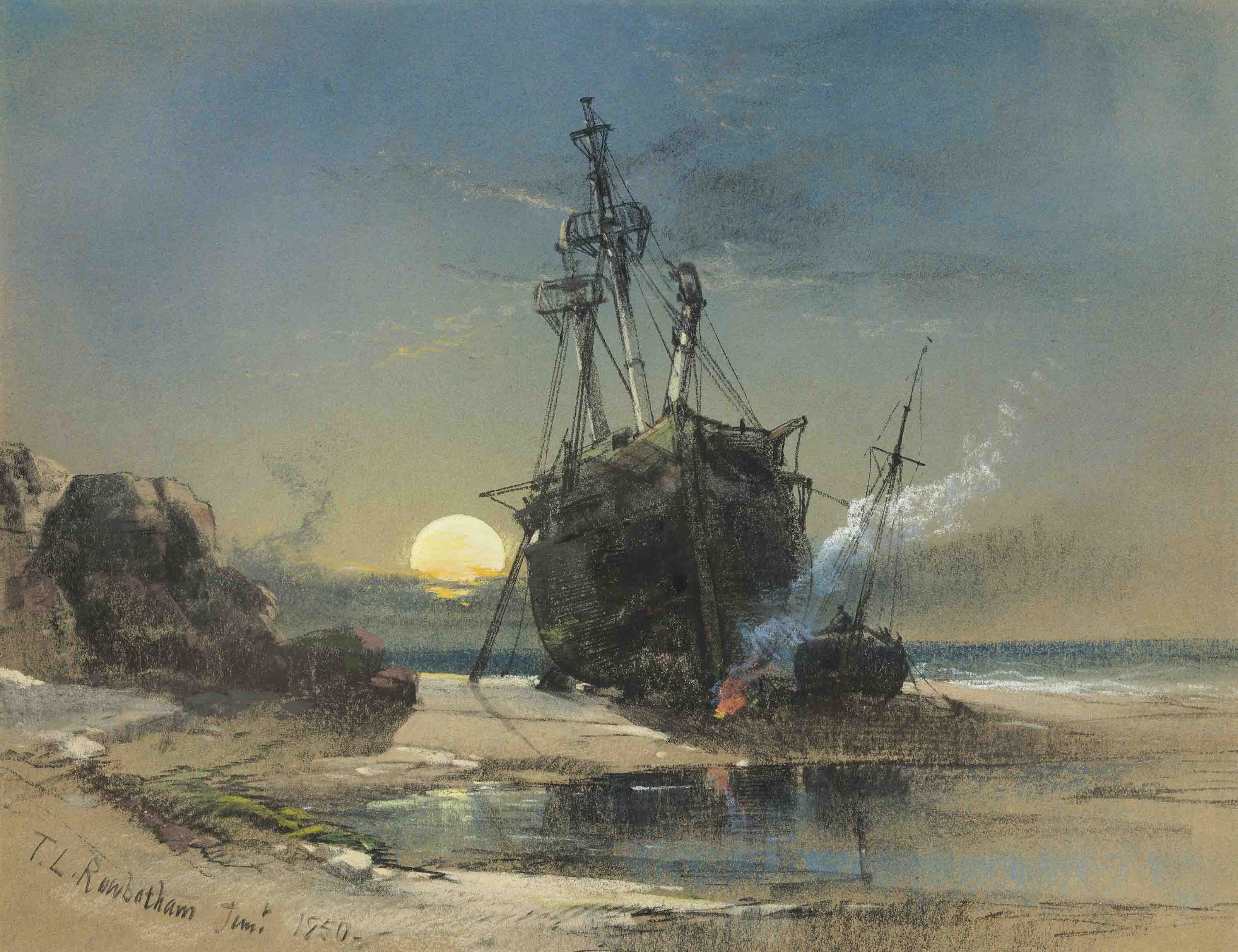 Shipping run aground, with figures and a fire, at moonlight