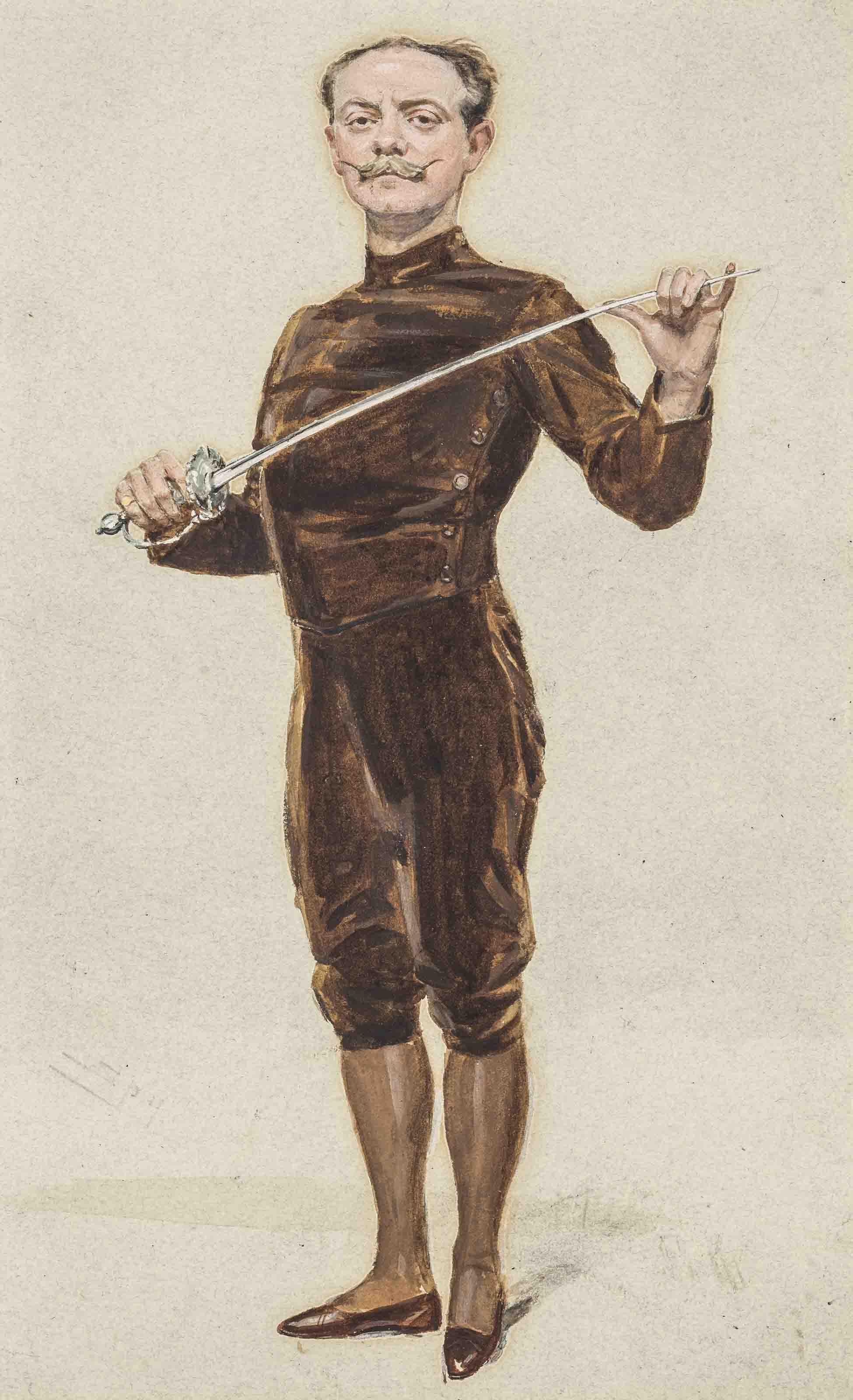 Portrait of Egerton Castle (1858-1920), standing, holding a fencing sword